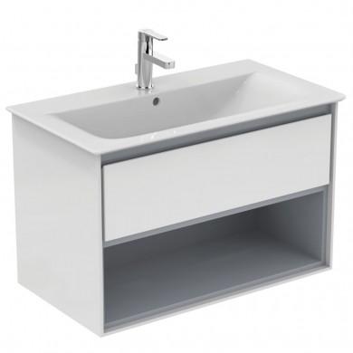 Шкаф за мивка 80 см бял лак+светлосив лак Connect Air E0827KN