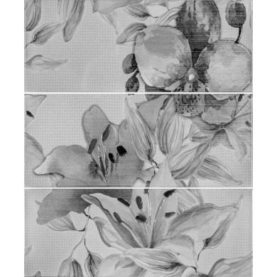 Декор  50х60 Виола  цветя антрацит 3 части