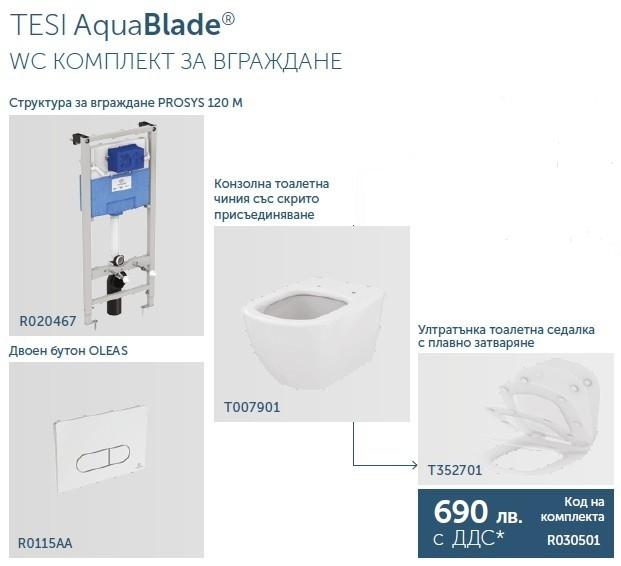 Промо комплект за вграждане Tesi AquaBlade с плавно затваряне R030501