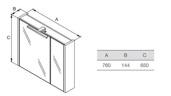 Горен шкаф с огледало Etna 80см дъб A857521445