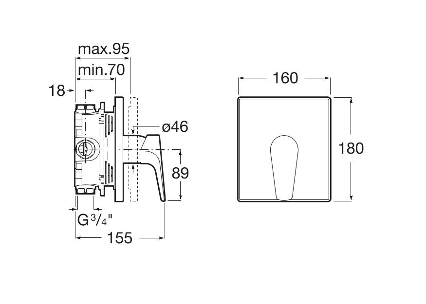 Вграден смесител за вана или душ Atlas A5A2B90C00