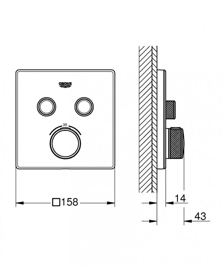 Термостат за вграждане за вана/душ Grohtherm SmartControl 29156LS0 moon white
