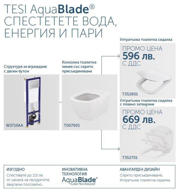 Промо комплект Tesi Aquablade с ултратънка тоалетна седалка плавно затваряне