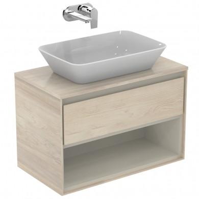 Шкаф за мивка 80 см светлокафяво дърво+бял лак Connect Air E0827UK