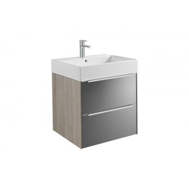 Шкаф за баня Inspira 60см., дъб/тъмно стъкло, с две чекмеджета и умивалник A851075403