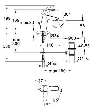 Смесител за умивалник Eurosmart хром с изпразнител 2339310E