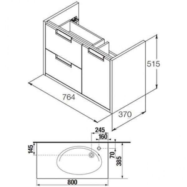 Долен шкаф с мивка Etna 80см дъб A851613445