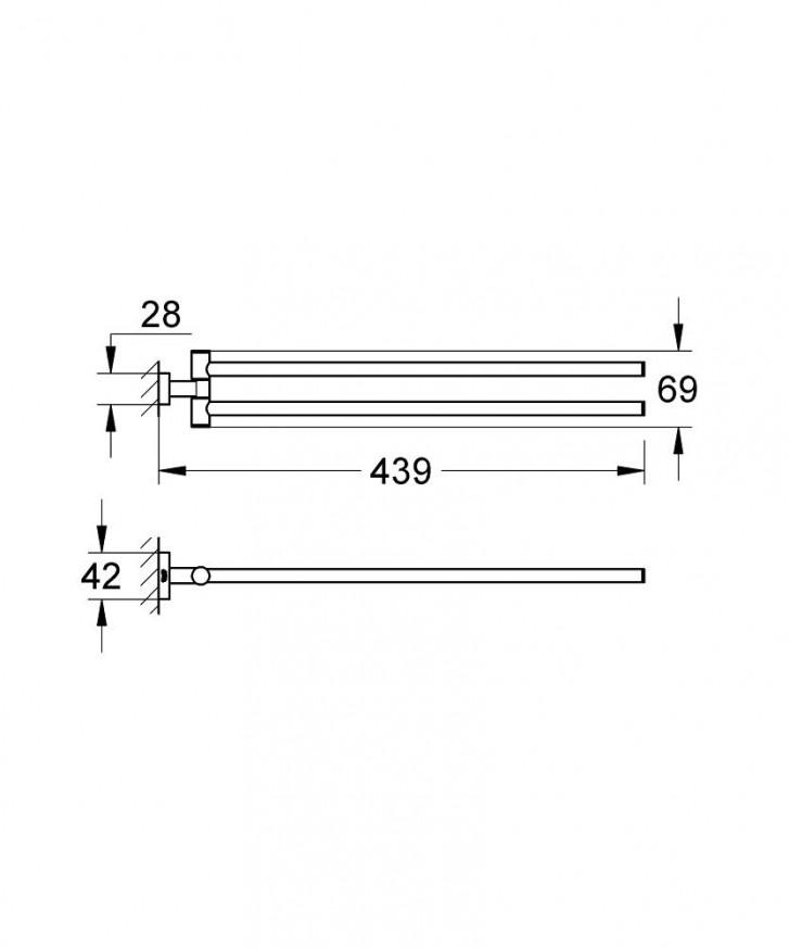 Двойна поставка за кърпи Essentials Cube хром 40624001