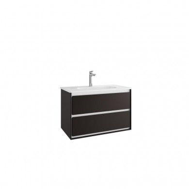 Шкаф за мивка 80 см Connect Air тъмнокафяв лак мат + бял лак мат E0819VY
