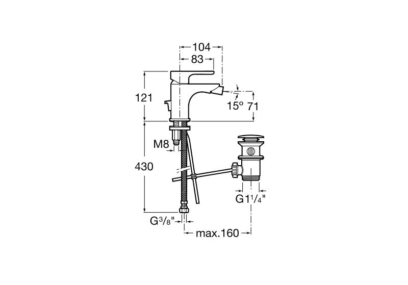 Смесител за биде L20 с автоматичен изпразнител A5A6A09C00