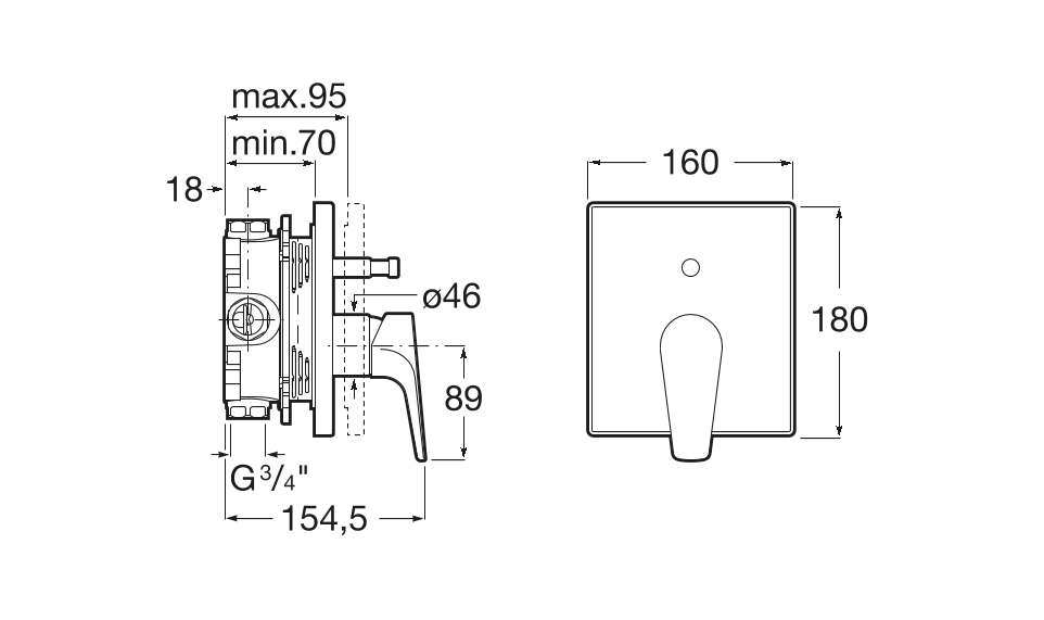 Вграден смесител за вана-душ Atlas A5A0B90C00