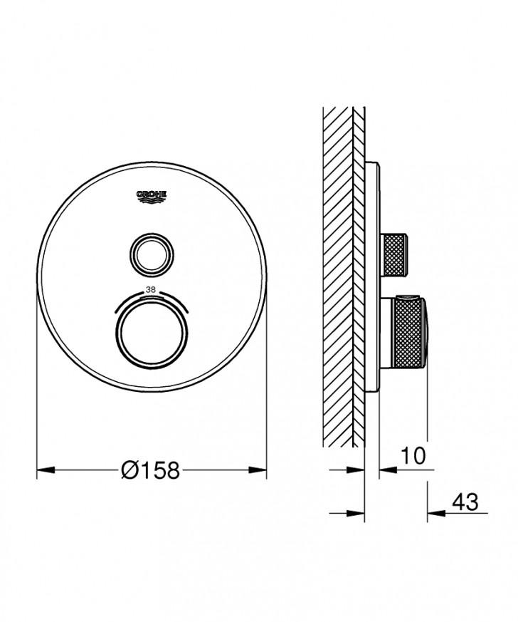 Teрмостат за вграждане за душ Grohtherm SmartControl 29118000
