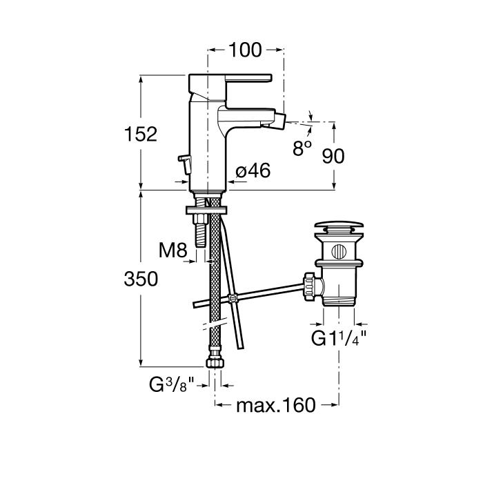 Смесител за биде Naia с автоматичен изпразнител A5A6096C00