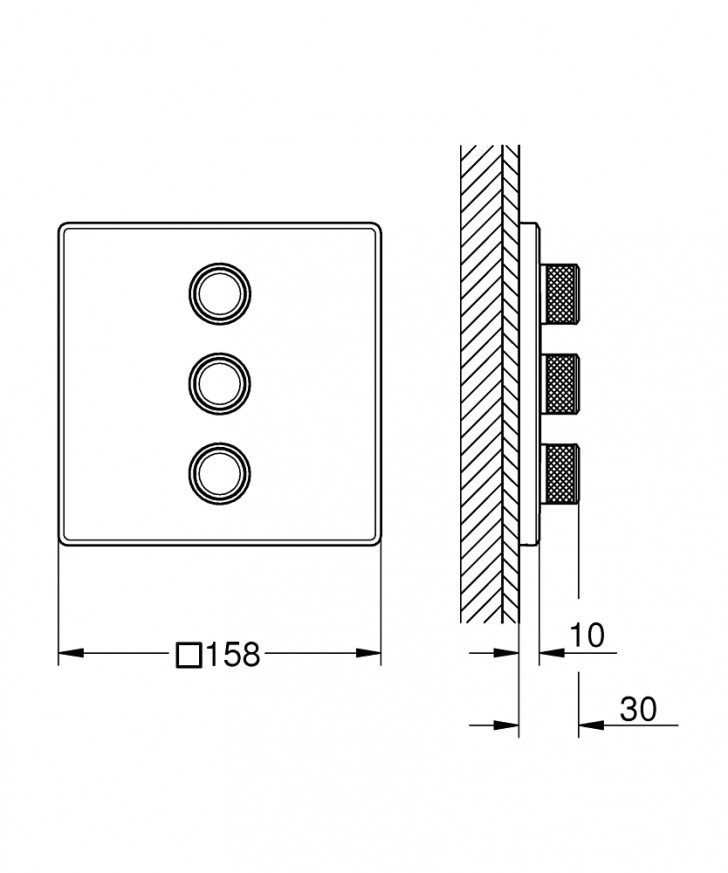 Троен вентил за вграждане Grohtherm SmartControl 29127000 , външна част