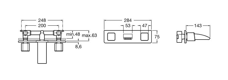 Вграден смесител за умивалник Thesis с ограничител на дебита 8 л/мин. A5A4550C00