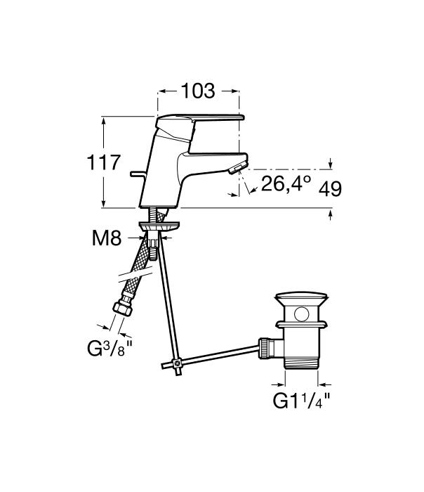Смесител за умивалник Victoria с автоматичен изпразнител A5A3025C00