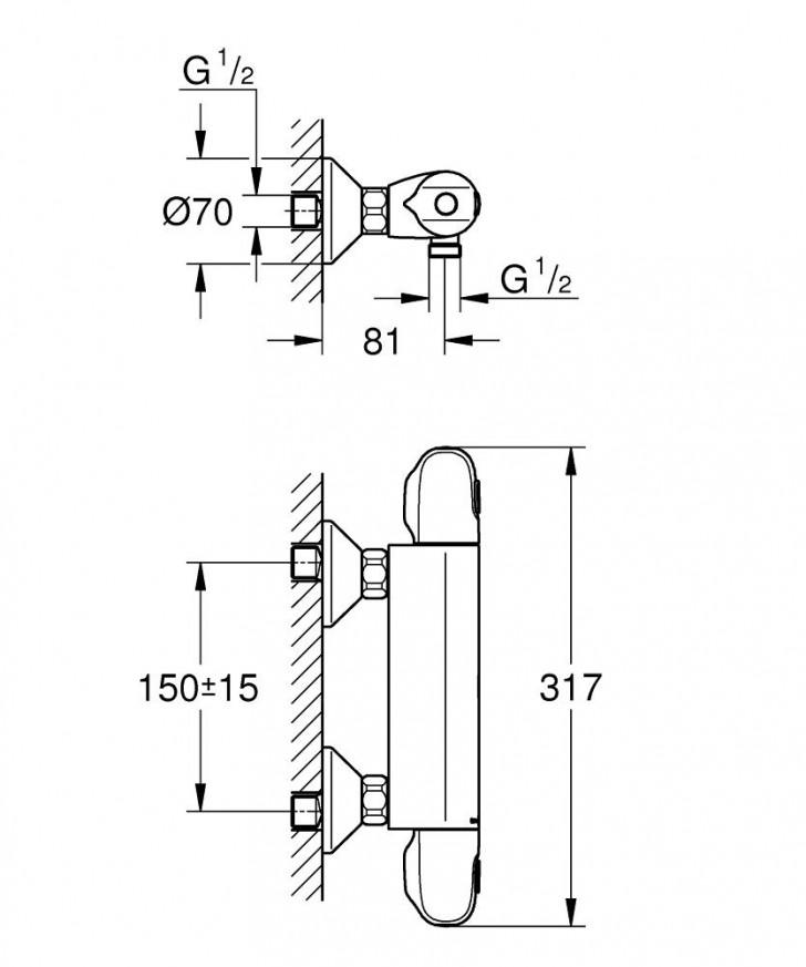 Термостатен смесител за душ Grohtherm 1000 34143003