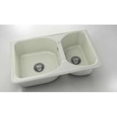 Кухненска мивка с две корита 80х49см от полимермрамор 216