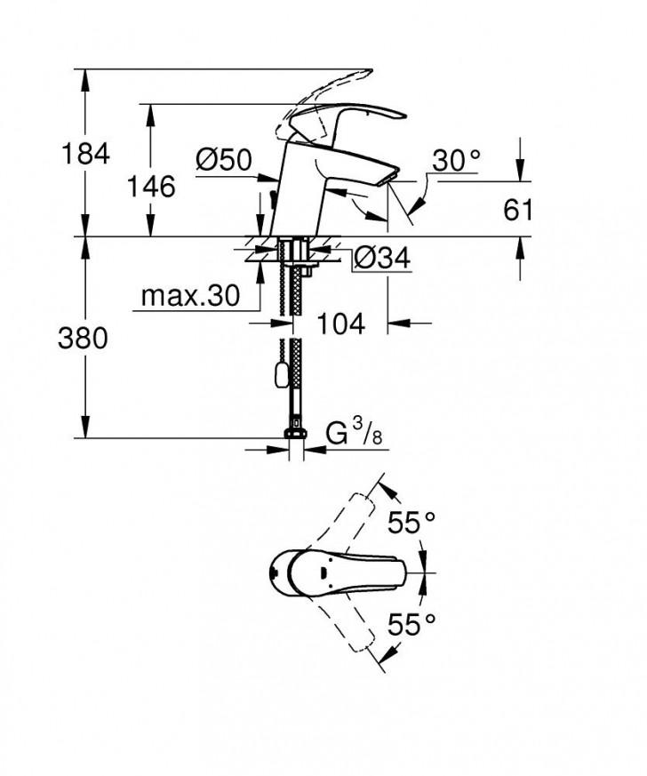 Смесител за умивалник Eurosmart хром 33188002
