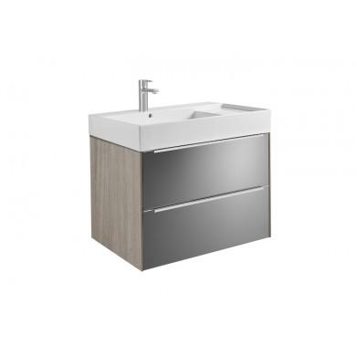 Шкаф за баня Inspira 80см, дъб/тъмно стъкло, с две чекмеджета и умивалник A851076403