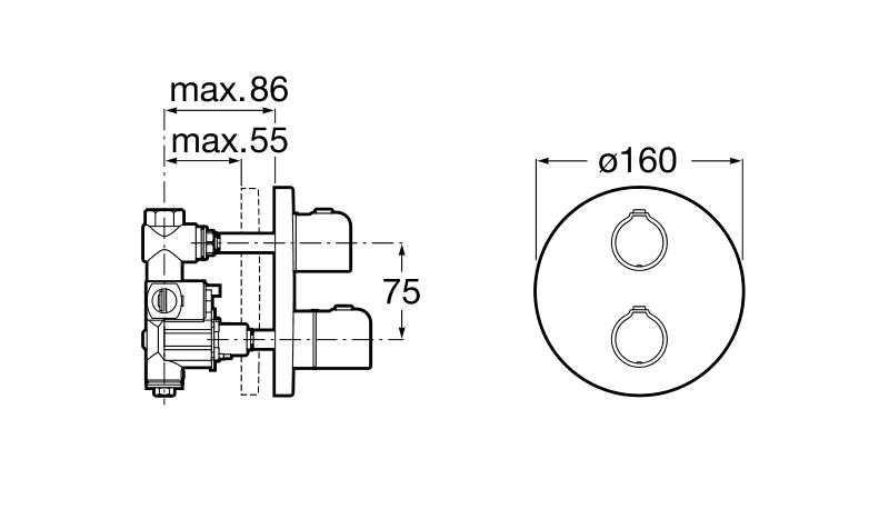 Вграден термостатичен смесител Victoria за вана или душ A5A2B18C00