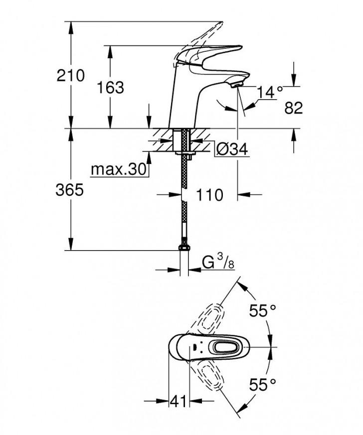 Смесител за умивалник Eurostyle хром без изпразнител 32468003