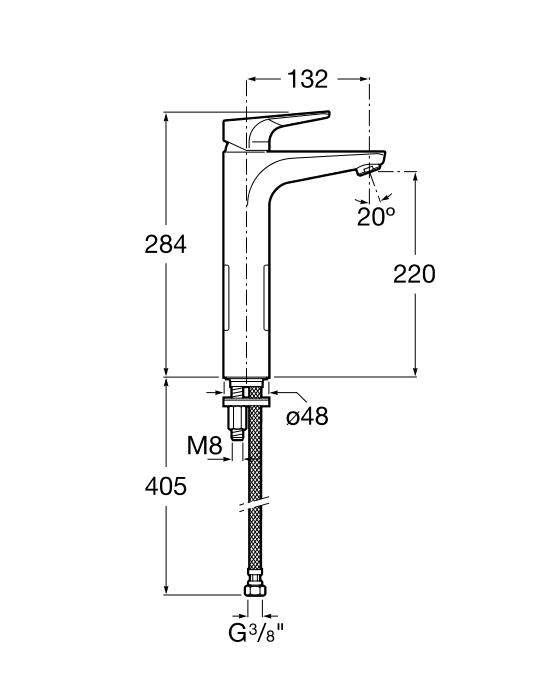 Смесител за умивалник Atlas с висок чучур A5A3790C00