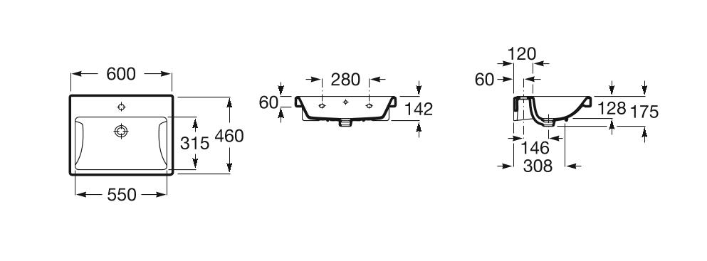 Умивалник Gap 60см за стенен монтаж или върху мебел A3270M1000