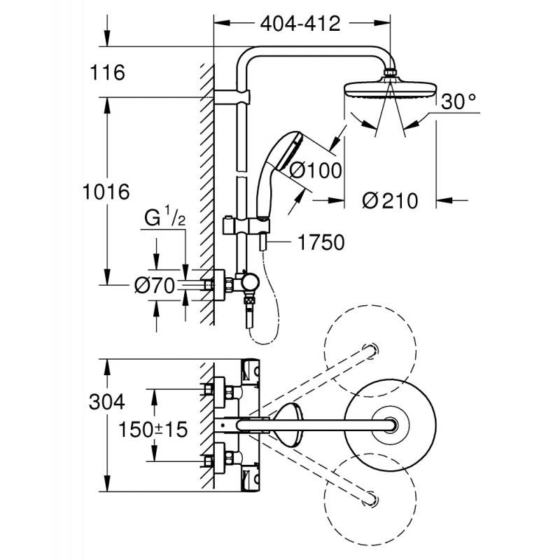 Промо душ система с термостат Bauclassic 26699000