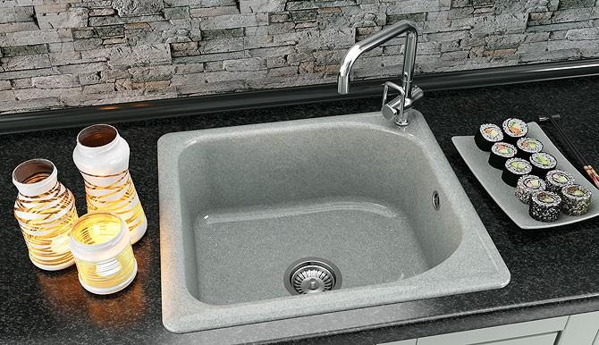 Единична мивка 56х51 см от граниксит 209