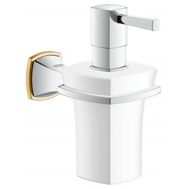 Държач с керамичен дозатор за течен сапун Grandera хром/злато 40627IG0