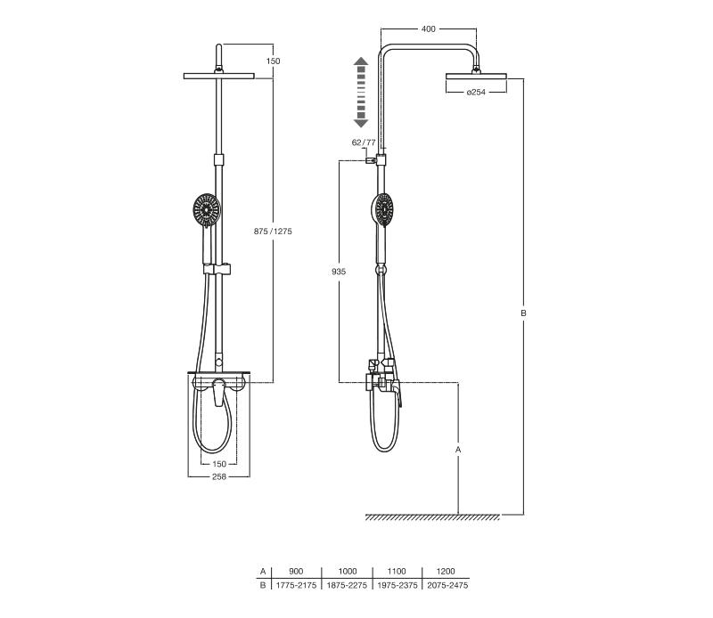 Едноръкохваткова душ колона Even-M с полица A5A9790C00