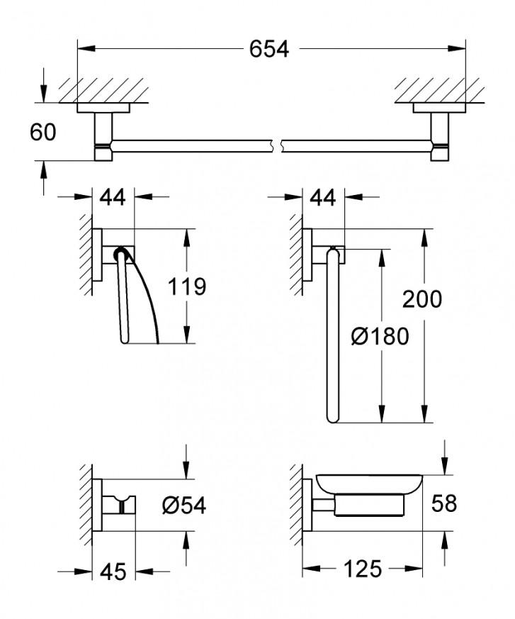 Комплект аксесоари за баня 5 в 1 Essentials 40344001