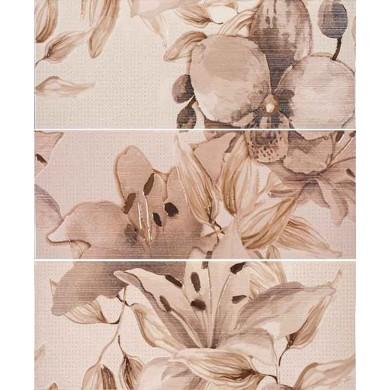 Декор  50х60 Виола  цветя кафяв  3 части