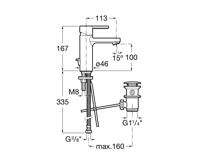 Смесител за умивалник Naia с автоматичен изпразнител A5A3096C00