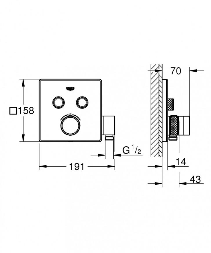 Термостат за вграждане за вана/душ Grohtherm SmartControl  29125000 с поставка за ръчен душ