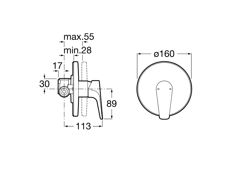 Вграден смесител Atlas за вана или душ A5A2290C00