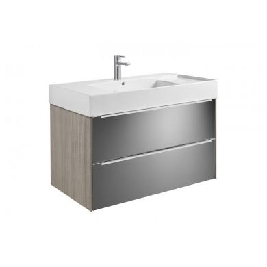 Шкаф за баня Inspira 100см., дъб/тъмно стъкло, с две чекмеджета и умивалник A851077403