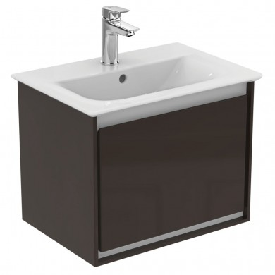 Шкаф за мивка 50 см тъмнокафяв лак+ бял лак Connect Air E0817VY