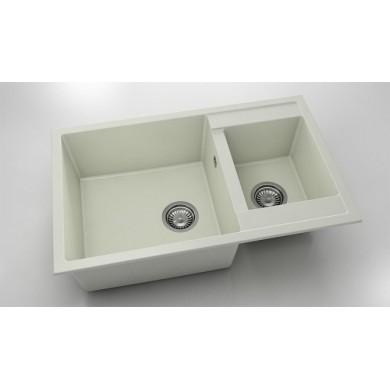 Кухненска мивка с две корита 80х49см от полимермрамор 233