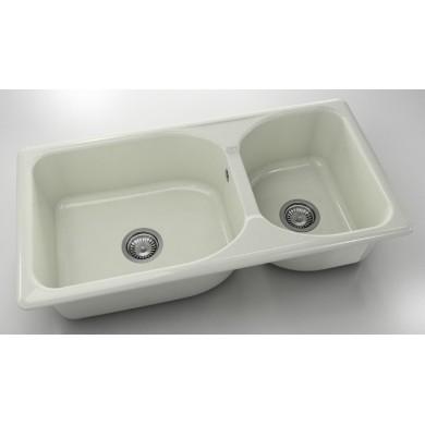 Кухненска мивка с две корита 95х49см от полимермрамор 214