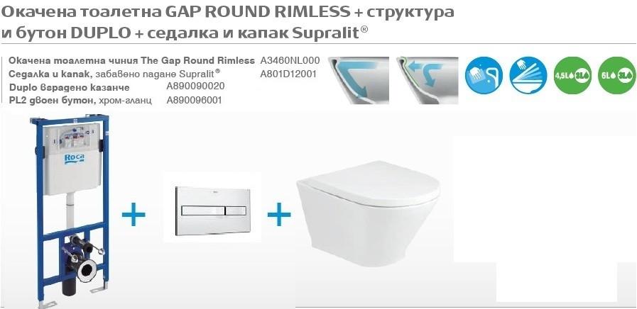 Промо комплект 4в1 Структура Duplo и тоалетна Gap Round Rimless