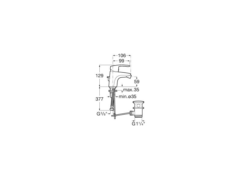 Смесител за биде Monodin-N с автоматичен изпразнител A5A6098C00
