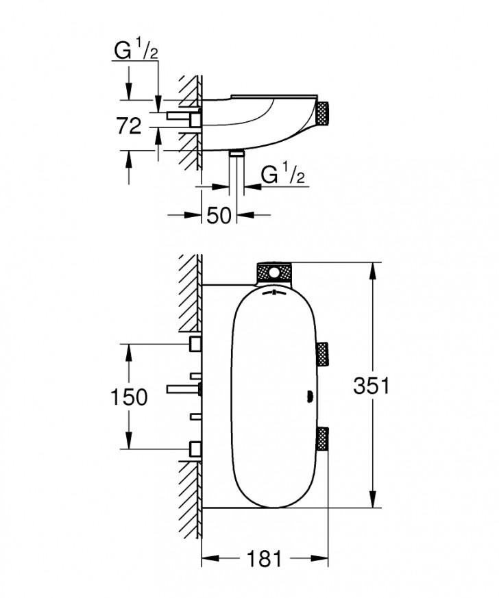 Grohtherm SmartControl Термостат за душ с 2 вентила 34714000