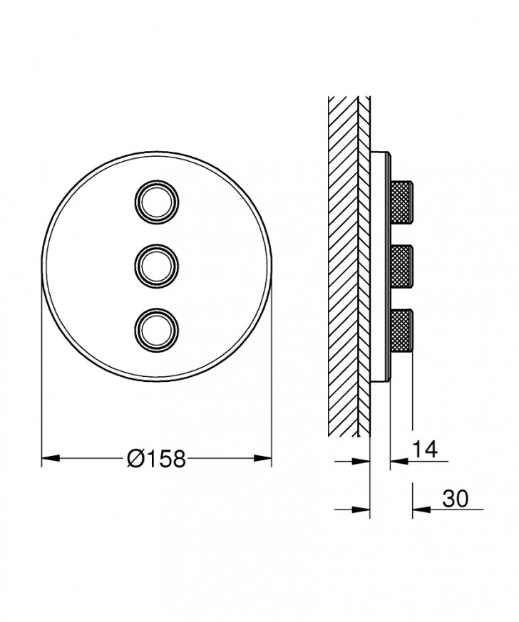 Троен вентил за вграждане Grohtherm SmartControl 29152LS0 moon white, външна част