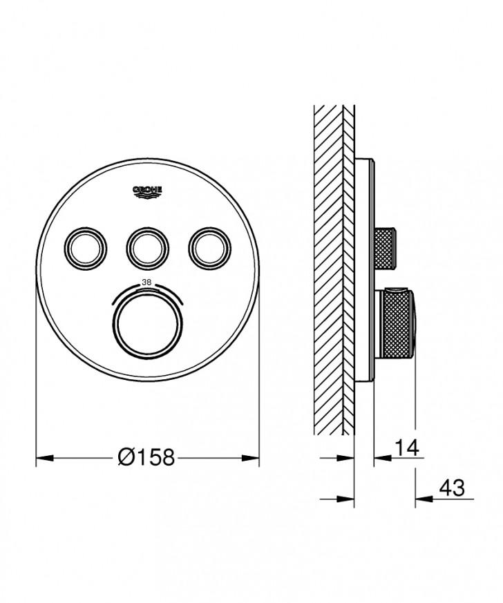 Термостат за вграждане Grohtherm SmartControl 29904LS0 moon white с 3 извода