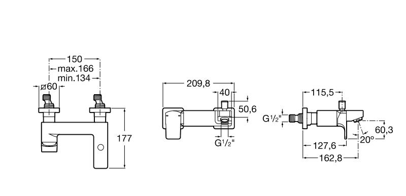 Външен смесител за вана-душ L90 с автоматичен превключвател A5A0D01C00