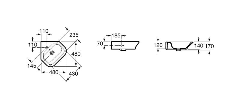 Ъглов умивалник за стенен монтаж Gap 48см A32747R000