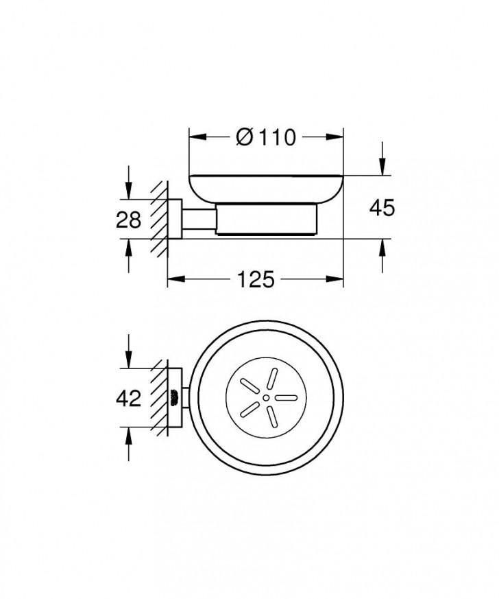 Сапунерка с държач Essentials Cube хром 40754001