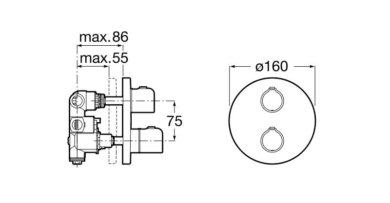 Вграден термостатичен смесител за вана-душ Victoria A5A2A18C00